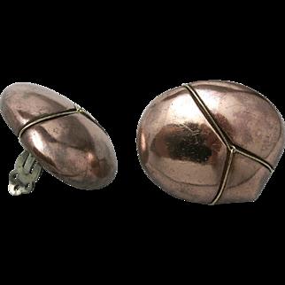Large copper earrings Hand MADE OOAK