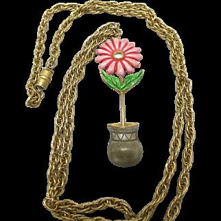 Cheerful Flower necklace Sixties Enamel Pendant