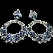 Beautiful Rhinestone earrings Blue Vintage HOOPS