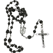 Beautiful Vintage Rosary Sterling silver Italian Lava Beads