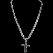Engraved Sterling silver CROSS vintage Necklace