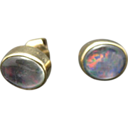 Fake Opal Earrings Pierced Posts Handmade