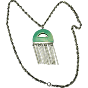 Kramer necklace Long silver chain Lucite Pendant Dangle Fringe