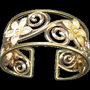 Krementz Cuff Bracelet Gold filled Flowers wide