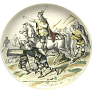 Creil et Montereau Plate French Transferware Military Scene