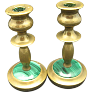 Malachite Candle Sticks Brass Gibson Small Charming Heavy