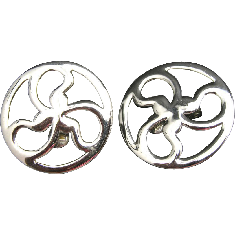 monet earrings silver tone clip on large abstract flower