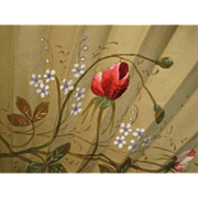 Hand Fan Silk Embroidery Paint Floral Wood