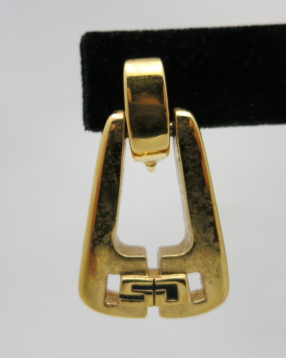 St John Knits Earrings Clip On Gold Tone Logo Sj From