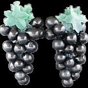 Grape earrings HUGE Plastic Clip on Vintage