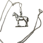 Horse necklace Sterling silver Pendant and Chain