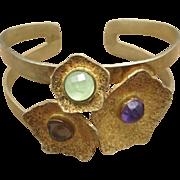 Floral Cuff Bracelet Sterling silver Amethyst OOAK Artisan