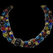 Multicolor glass bead necklace Jewel tones LC