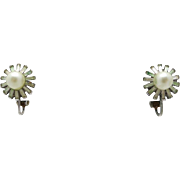 Trifari earrings silver tone Fake pearls Clip On Rhinestone Baguettes