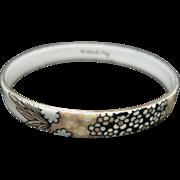 Michaela Frey Enamel Bracelet Floral Pattern White Black Beige