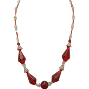 Glass bead Necklace Red Clear Pressed Glass Frosted