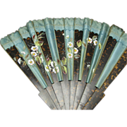 Hand Fan Wood Fake Tortoise shell and Paint Floral Motif Large