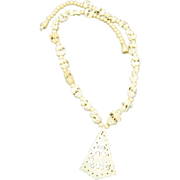 Beaded Necklace Carved Elephant Pendant Bone