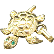 Turtle charm gold tone Metal Rhinestone eyes Monet Wiggles