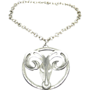 Aries Necklace Huge Pendant Disco Pewter Seventies