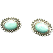 Turquoise Earrings Southwestern Design Sterling Silver
