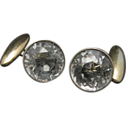 Russian Rock Crystal Cufflinks Round Faceted Marked