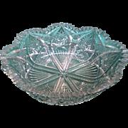 American Brilliant Period CUT GLASS Crystal BOWL w/Scalloped Rim