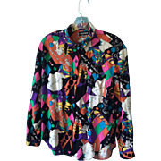 1960s  PSYCHEDELIC Keep On Truckin/The News Is Color Ashleigh Mogan BLOUSE; Size M
