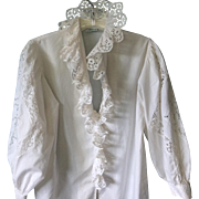 Vintage Austrian Eyelet Ruffled& Lace Blouse by LEICO; Size 36 RESERVED FOR MYRA