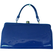 1950's THEODOR of CALIFORNIA Royal Blue Patent Leather Handbag