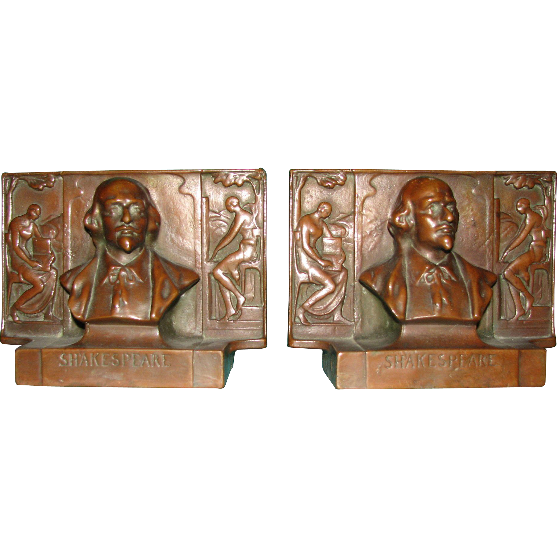 Shakespeare and Muses Bookends by Pompeian Bronze Co