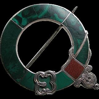 Antique Scottish Belt Buckle Brooch Sterling Malachite Jasper Stone