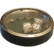 Victorian Brass Stud Button of Tiny Dice