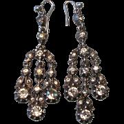 Antique Paste Chandelier Pendant Sterling Silver Earrings