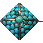 Antique Turquoise Set Small Sterling Brooch