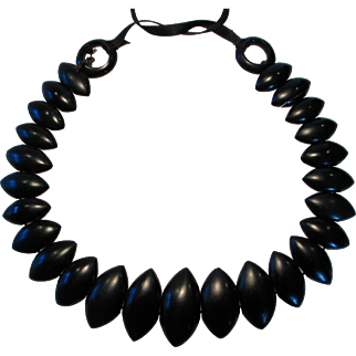 Victorian Whitby Jet Carved Necklace