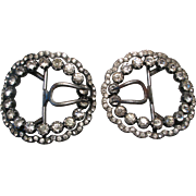 French Victorian Paste Sterling Buckles Pair