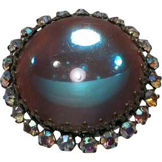 Amazing Largest Saphiret Glass Cabochon Brooch