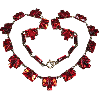 Early Rich Ruby Red Mirror Glass Necklace Riviere