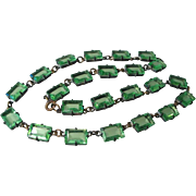 Early Czech Green Cut Glass Riviere Necklace