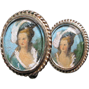Edwardian Gilt Painted Portrait Earrings