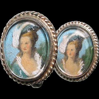 Edwardian Gilt Painted Portrait Earrings