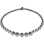 Antique Sterling Silver Crystal Glass Riviere Necklace