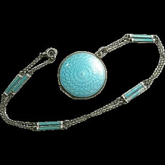 Antique Edwardian Silver Enamel Guilloche Locket and Chain