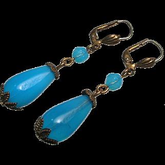 Antique Opaline Blue Glass Rolled Gold Earrings Germany
