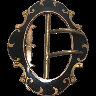 Antique Victorian Black Enamel Bronze Buckle