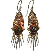 Antique Victorian Etruscan Revival 14k Gold Garnet Pendant Earrings