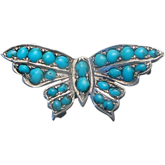 Antique Silver Turquoise Butterfly Brooch