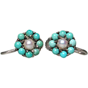 Antique Turquoise Pearl Sterling Silver Earrings