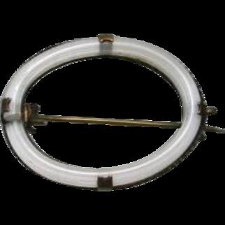Victorian Camphor Glass Fichu Brooch